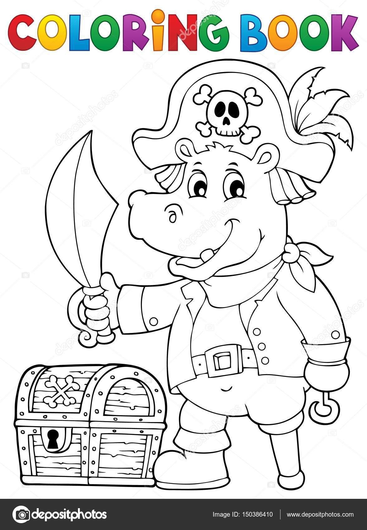 Malvorlagen Piraten Nilpferd Bild 1 — Stockvektor © clairev #150386410