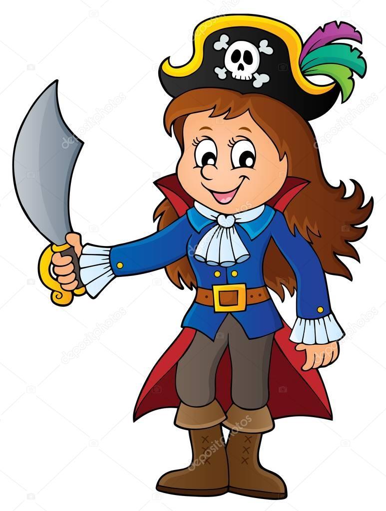 Pirat Mädchen Thema Bild 1 — Stockvektor © clairev #150389164