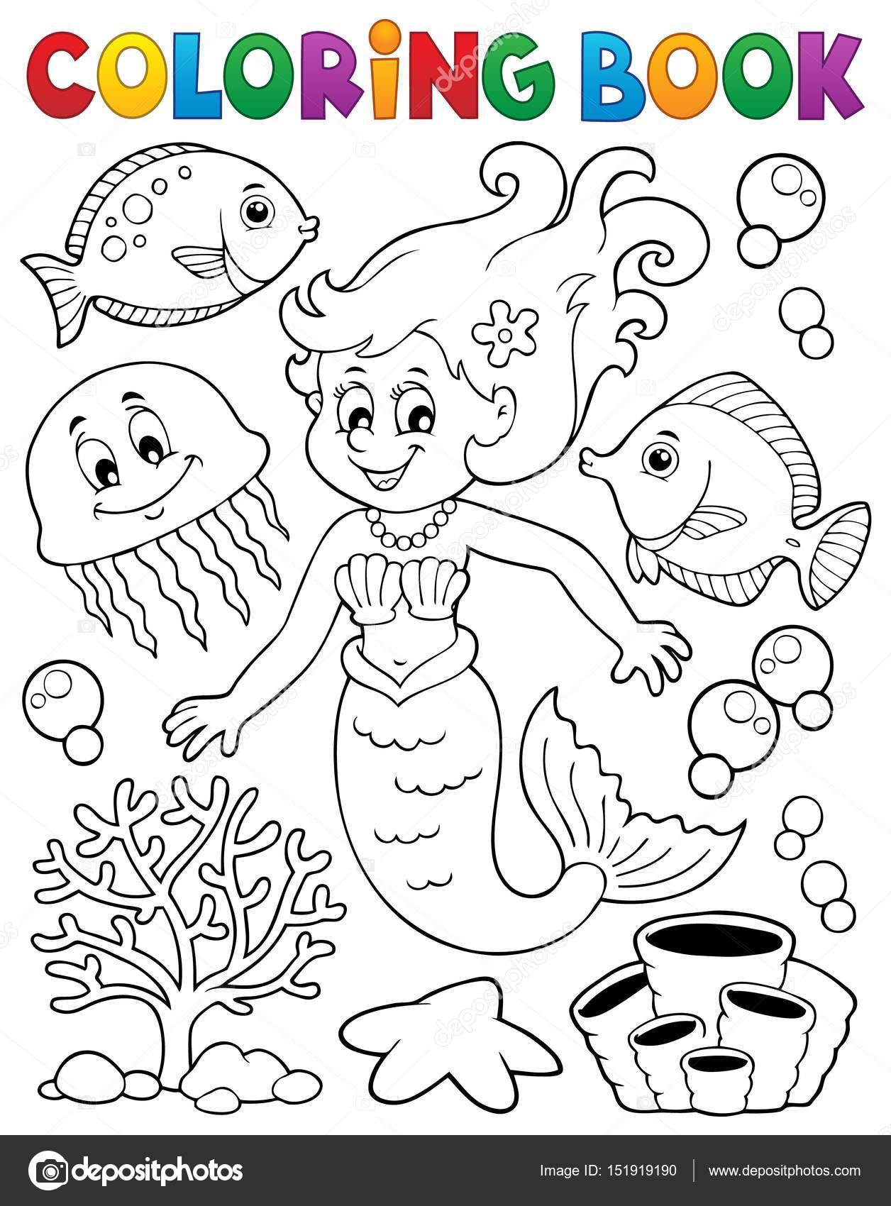 Tema de sirena para colorear libro 2 — Archivo Imágenes Vectoriales ...