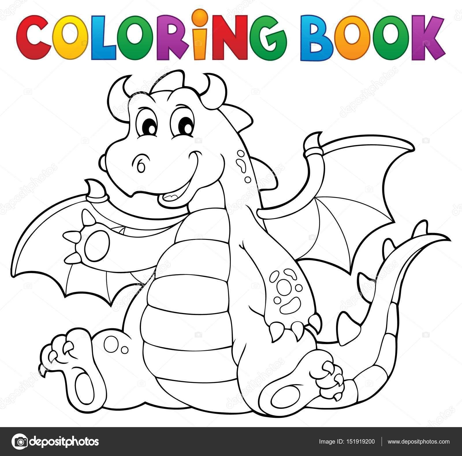 Immagine 6 Di Tema Del Drago Del Libro Da Colorare Vettoriali