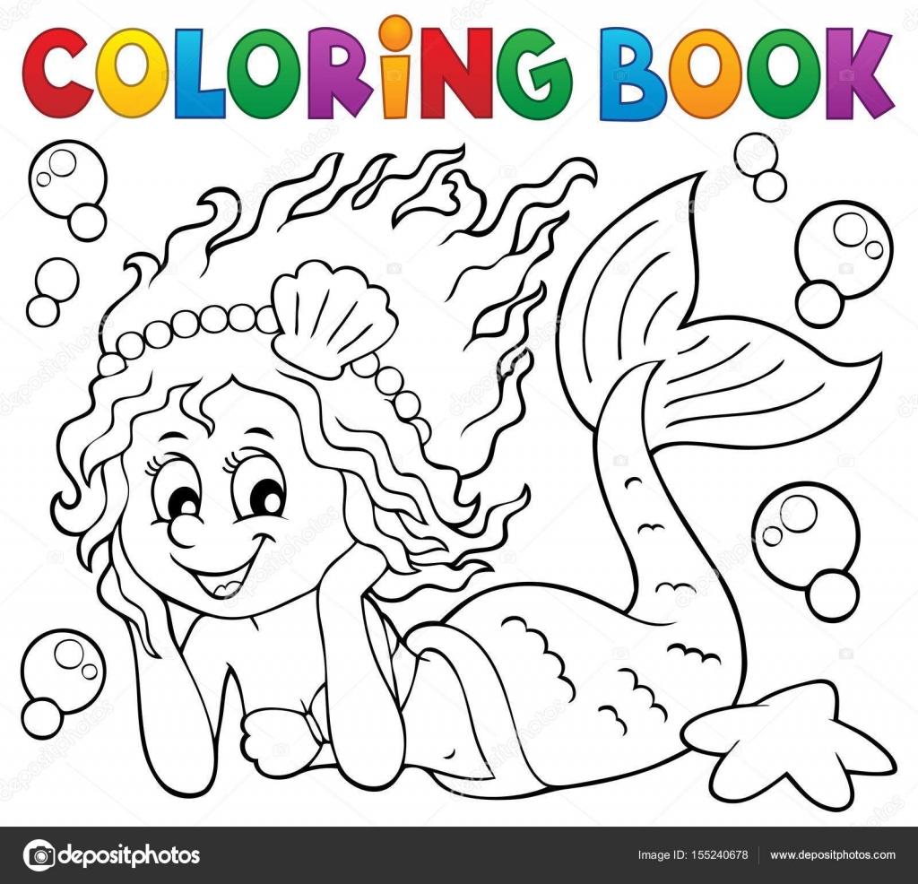 Sirena feliz de libro para colorear — Vector de stock © clairev ...