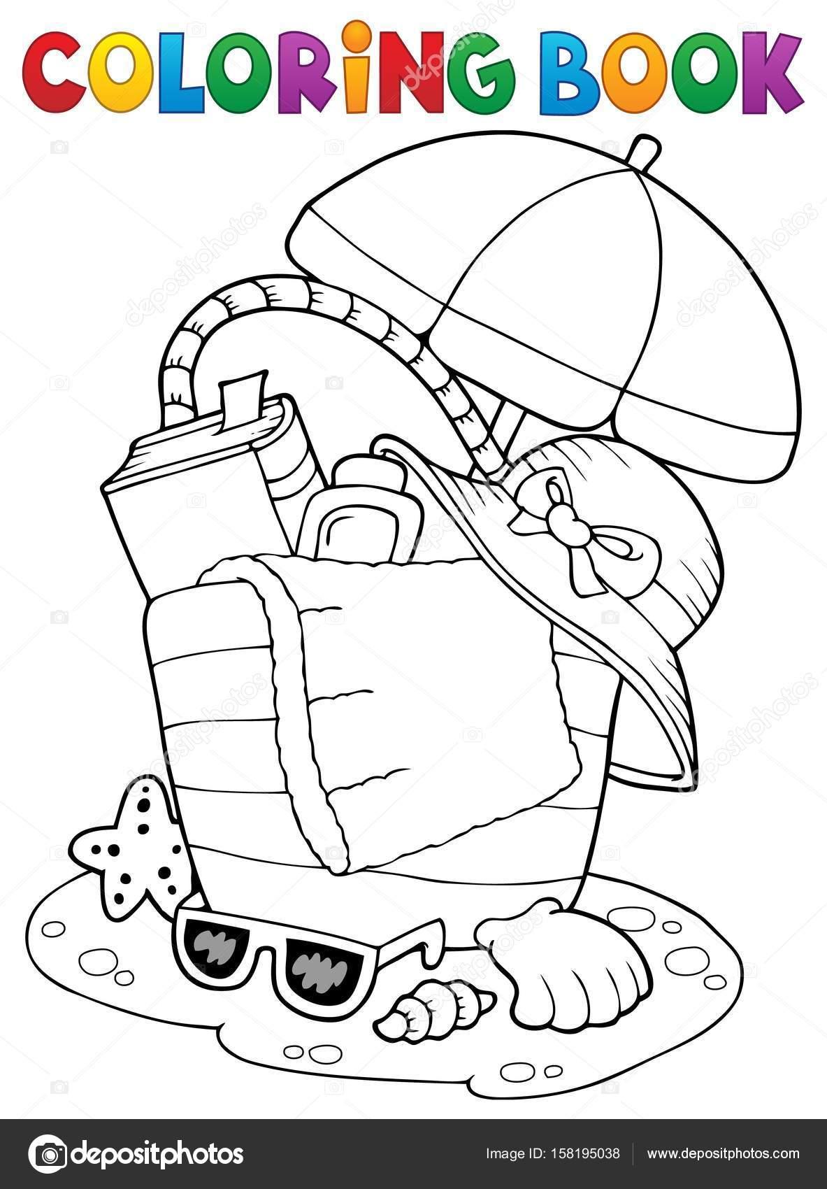 Paraguas y bolso de playa de libro para colorear — Archivo Imágenes ...