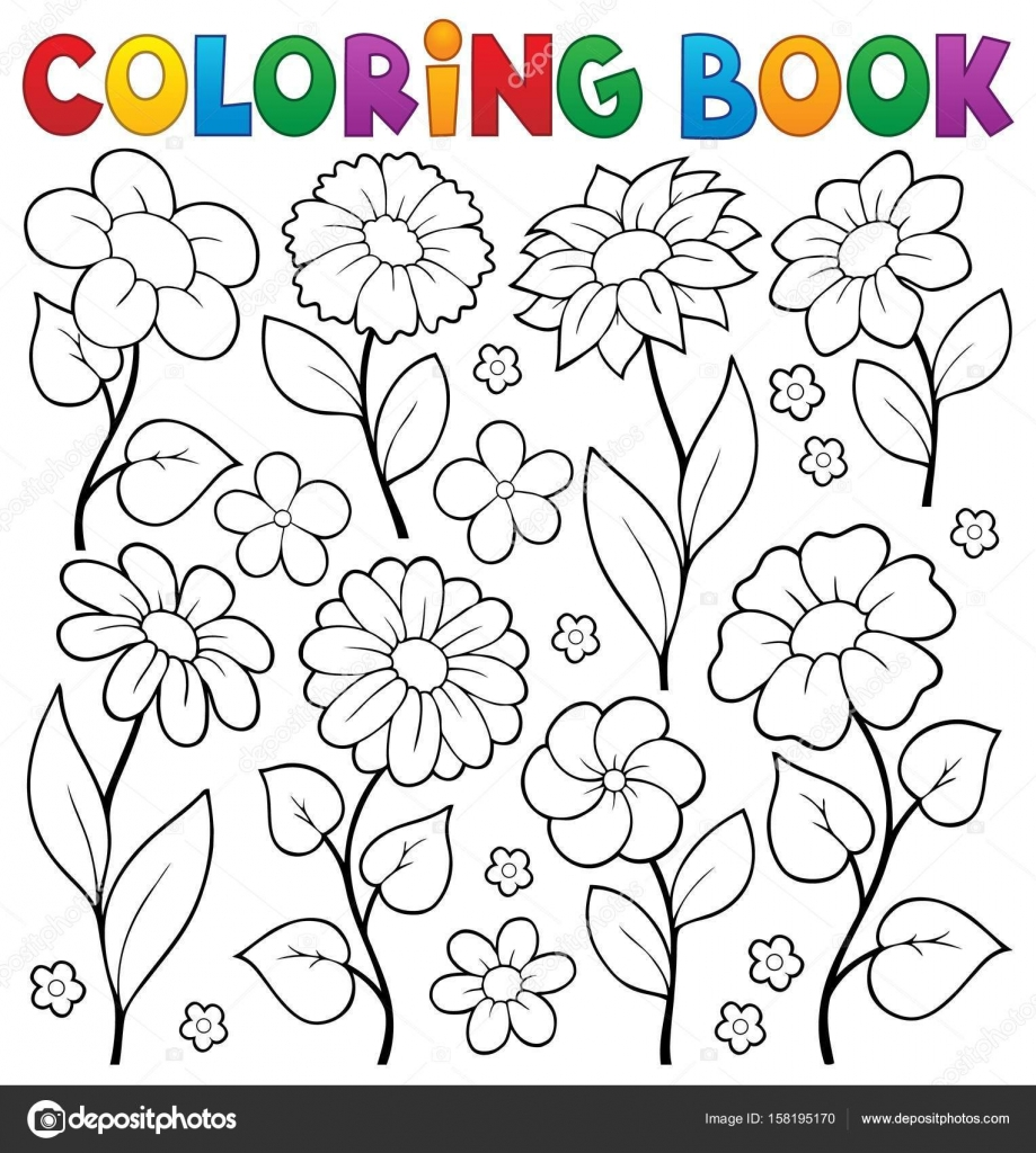 Tema de flor de libro para colorear 3 — Vector de stock © clairev ...