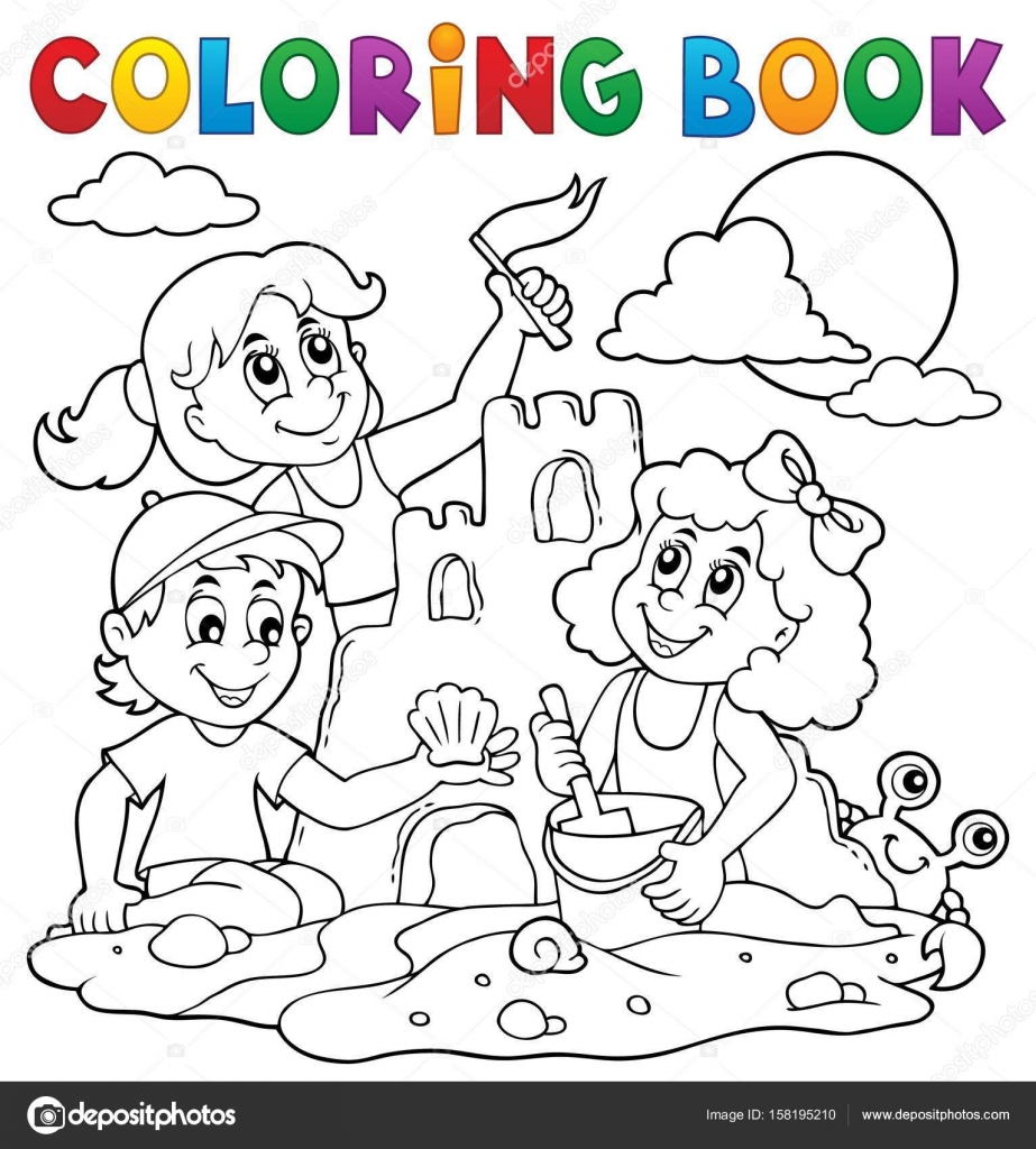 Kleurplaat Boek Kinderen En Zandkasteel Stockvector C Clairev