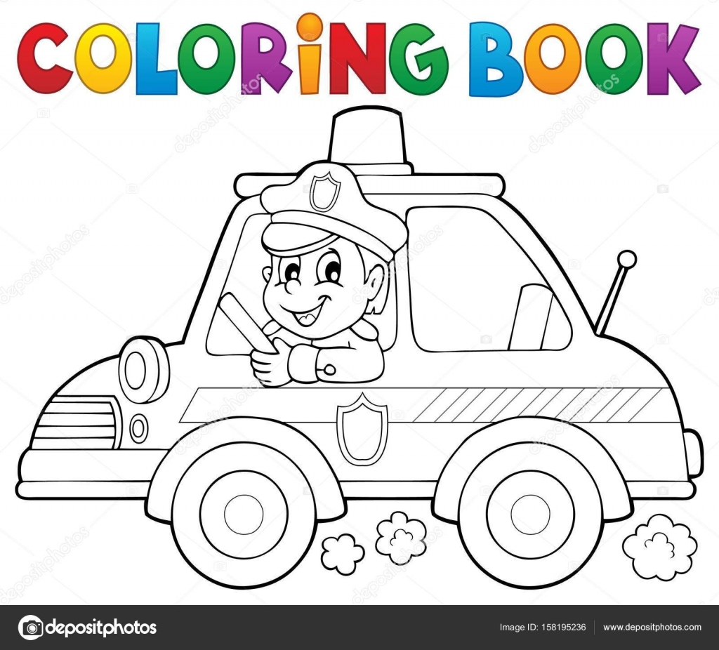 kleurplaat boek politie auto thema 1 stockvector