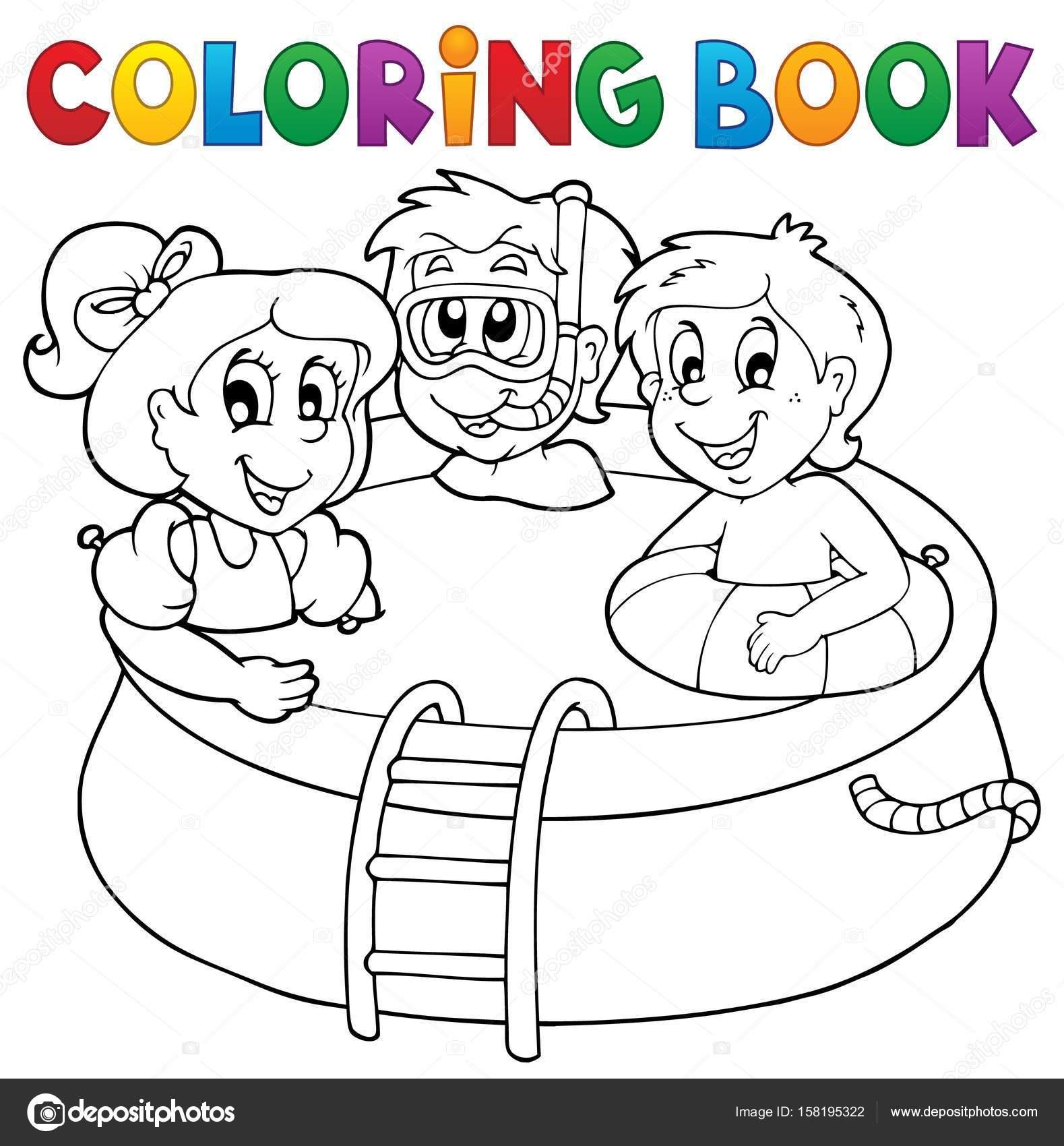 i bambini e piscina libro da colorare vettoriali stock