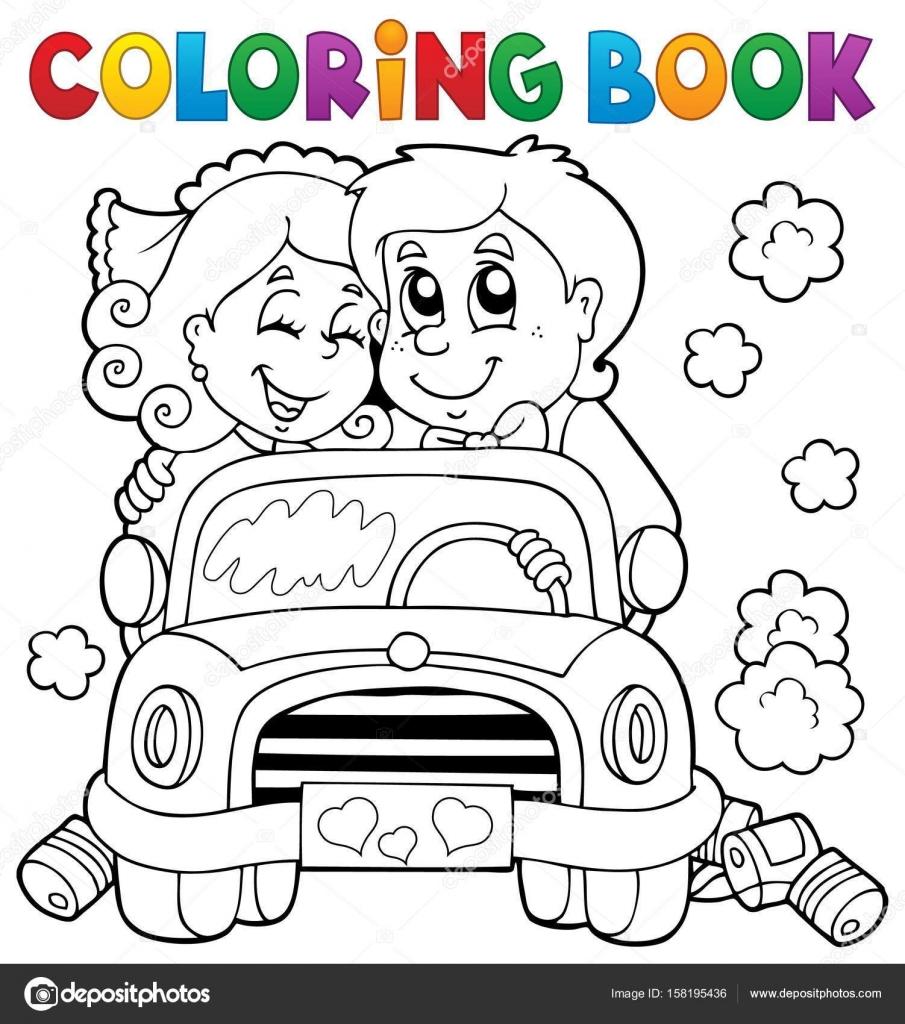 Coches de boda para colorear libro — Vector de stock © clairev ...