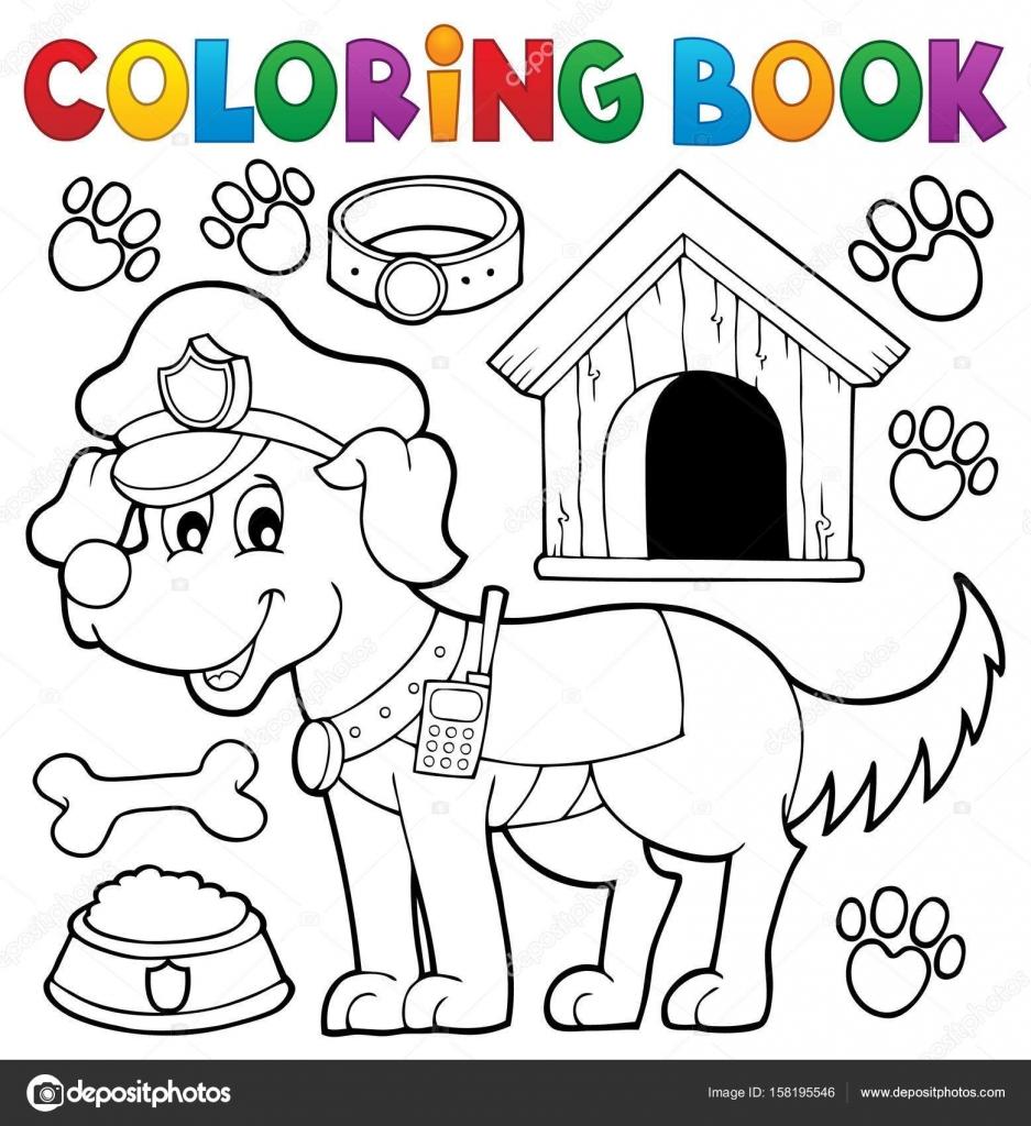 Polis Köpeği Ile Boyama Kitabı Stok Vektör Clairev 158195546