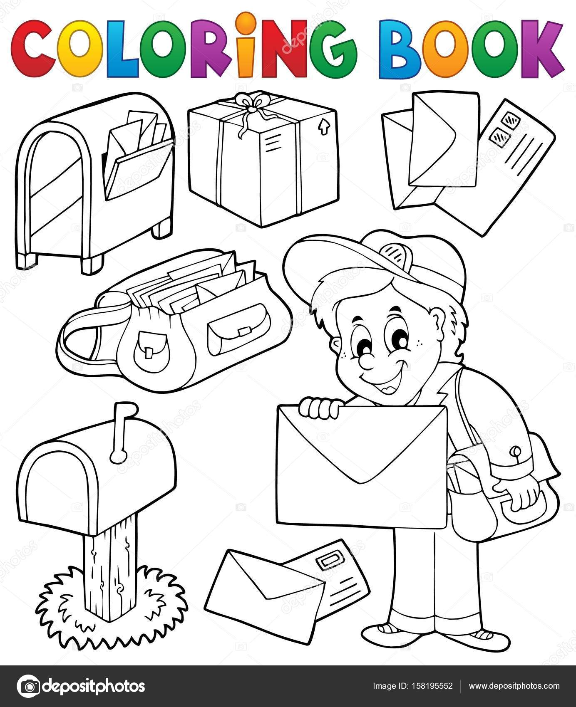 Kleurboek Met Postbode Motieven Stockvector C Clairev 158195552