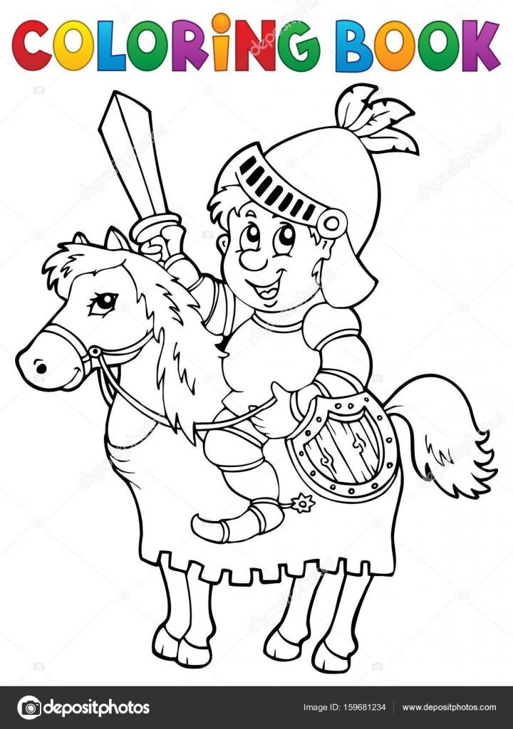 Coloring Book Ritter auf Pferd Thema 2 — Stockvektor © clairev ...