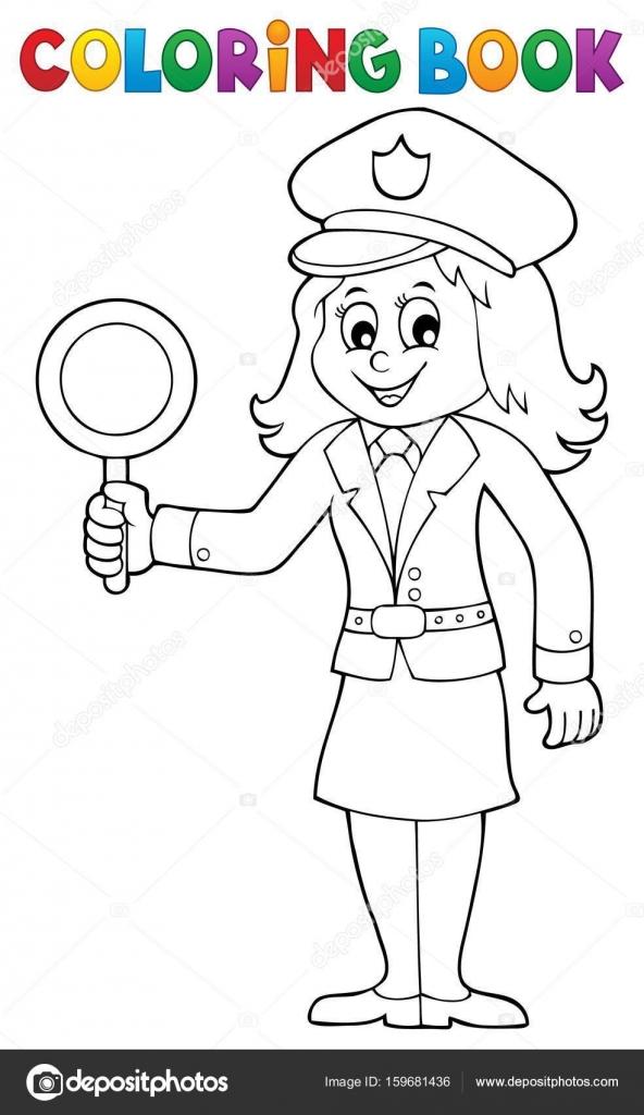 Imagen de mujer policía de libro para colorear 1 — Archivo Imágenes ...