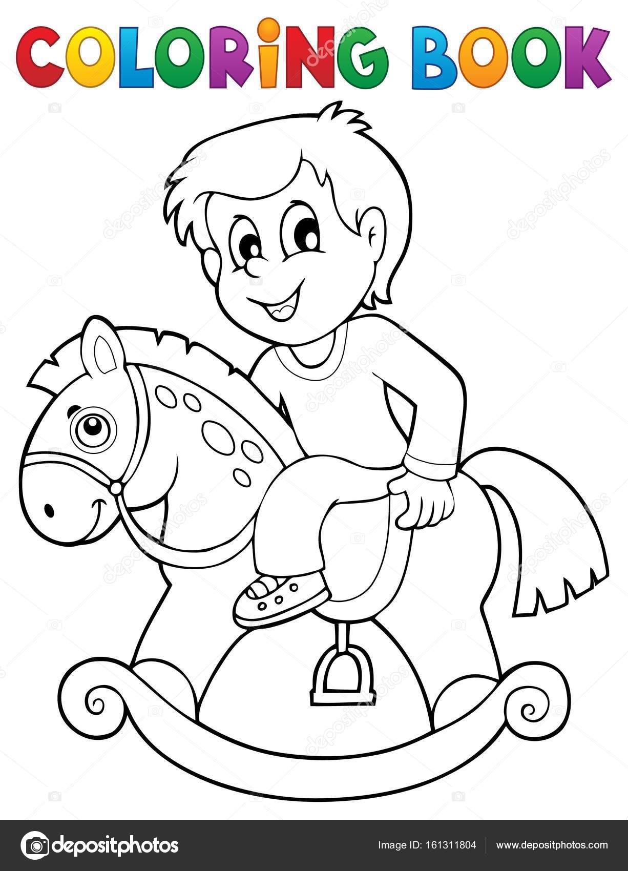 Muchacho de libro para colorear el caballo de oscilación — Vector de ...