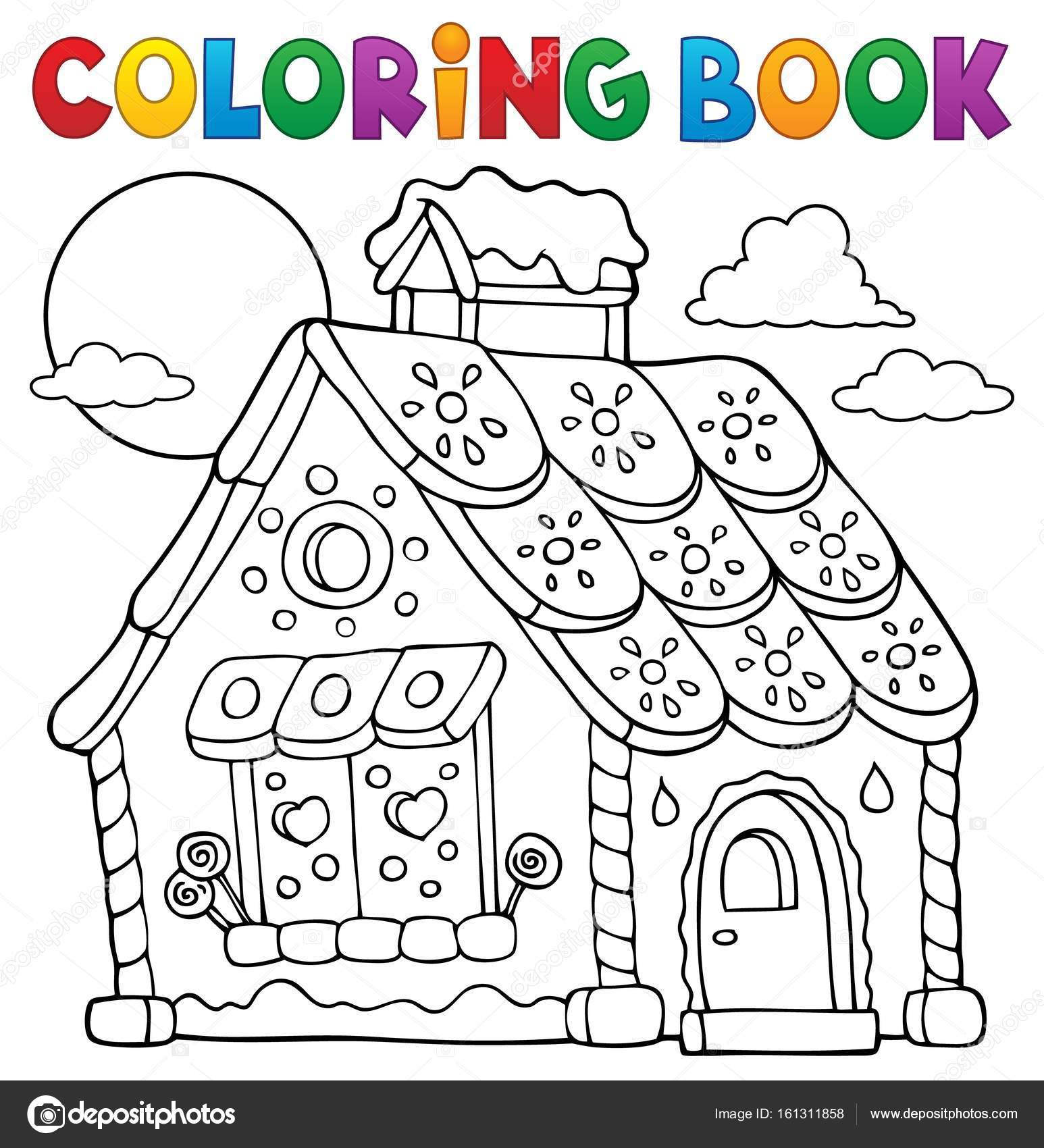 Tema de casa de pan de jengibre para colorear libro 1 — Archivo ...