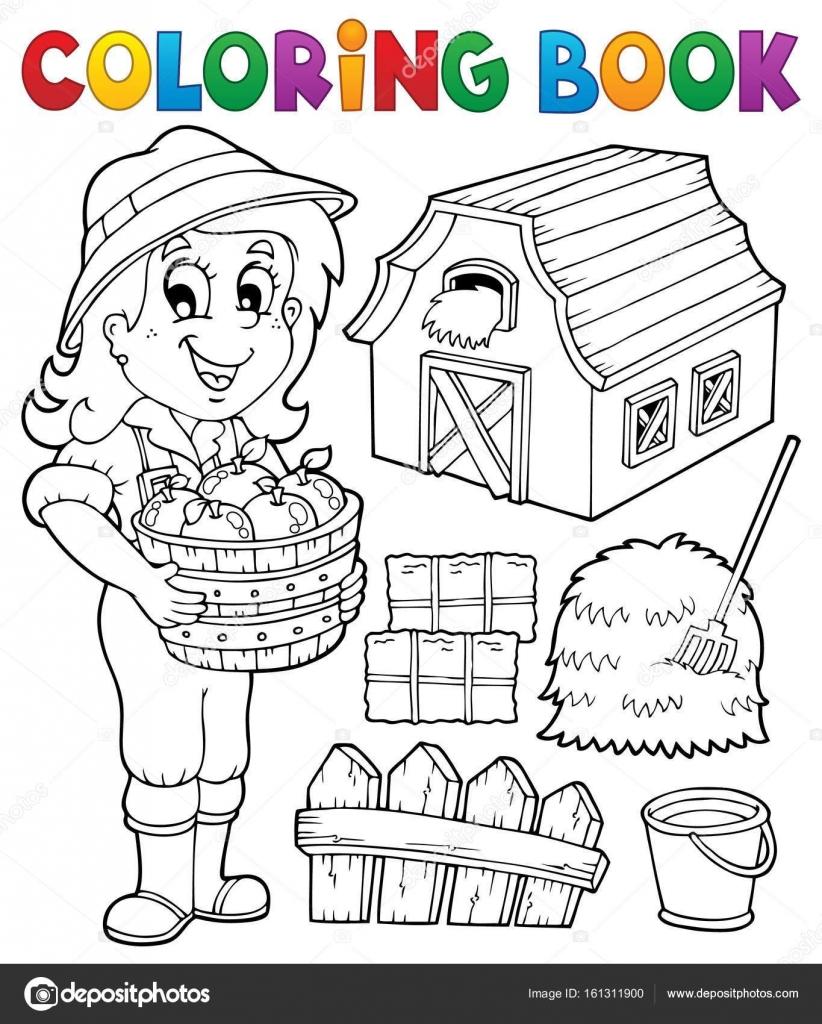 Kleurplaat Boek Meisje En Boerderij Objecten Stockvector C Clairev