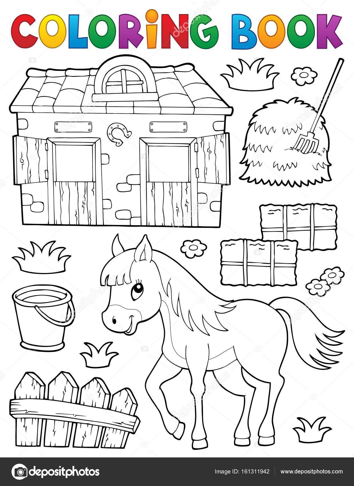 Colorear caballo de libros y objetos relacionados — Vector de stock ...