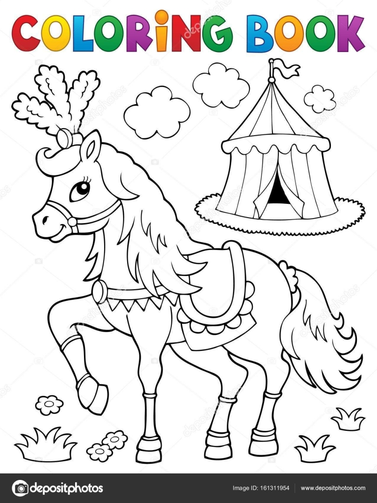 Coloring book horse near circus theme 2 — Stock Vector © clairev ...