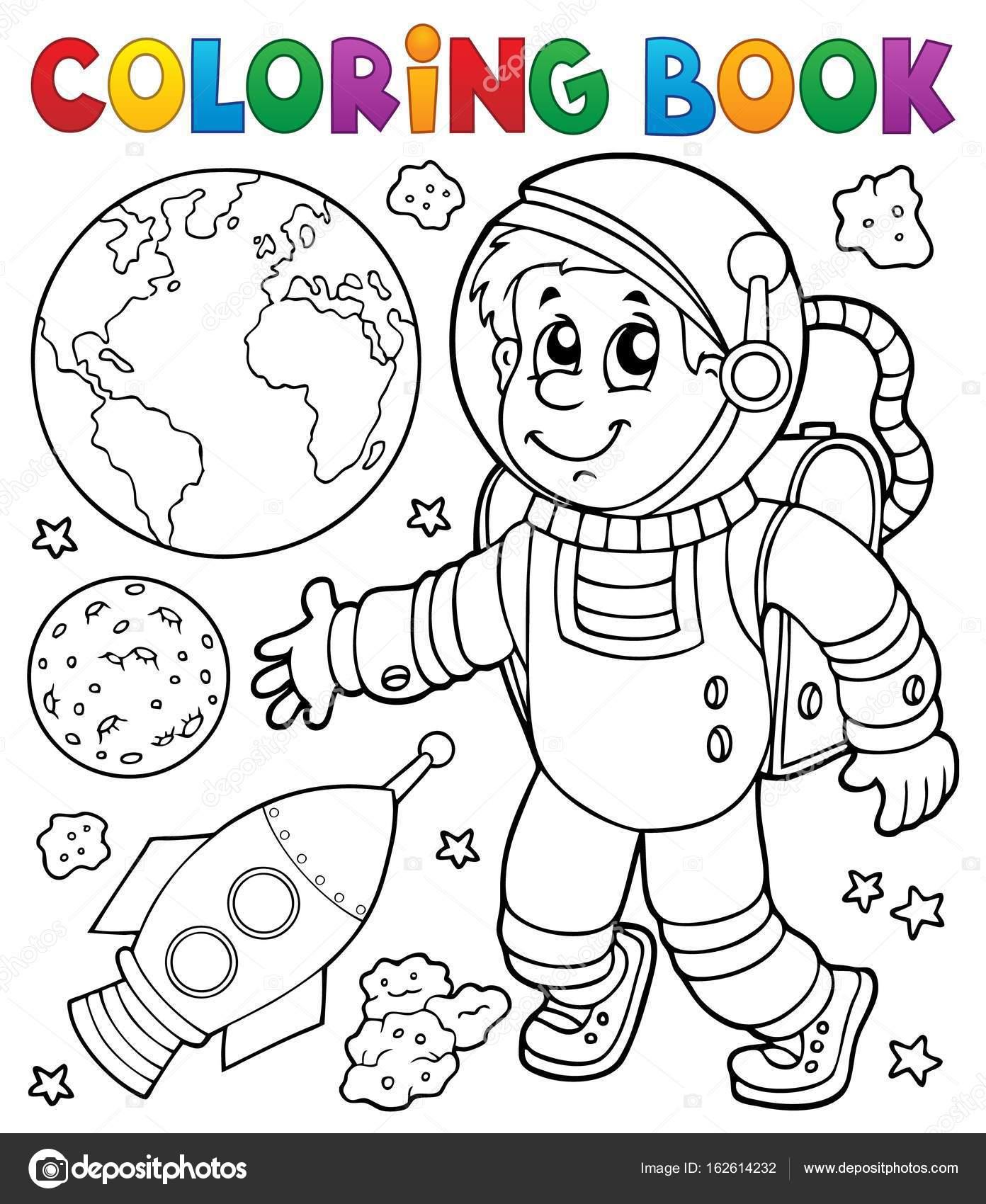 Boyama Kitabı Astronot Tema 1 Stok Vektör Clairev 162614232