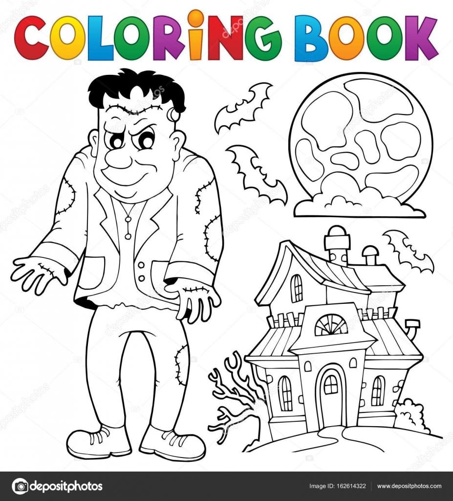 Tema de Frankenstein para colorear libro — Archivo Imágenes ...