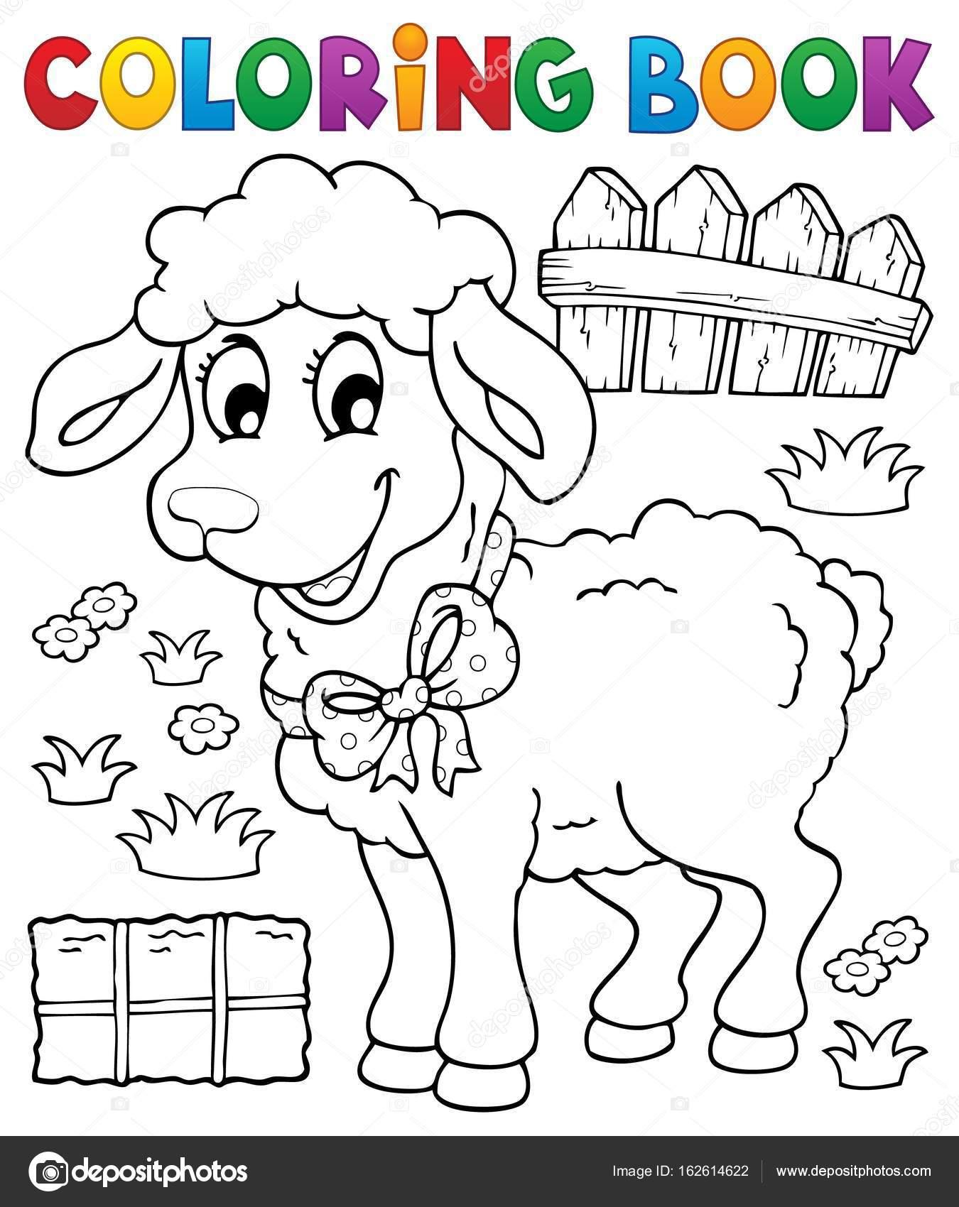 tema de ovelhas de livro para colorir 3 vetores de stock clairev