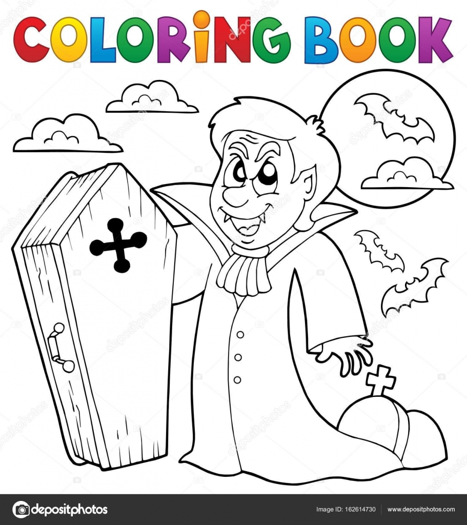 Tema de vampiro de libro para colorear 4 — Archivo Imágenes ...