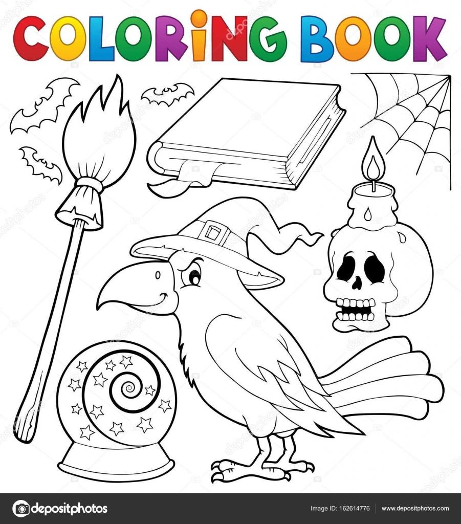 Coloriage Thème De Livre Sorcière Corbeau Image Vectorielle