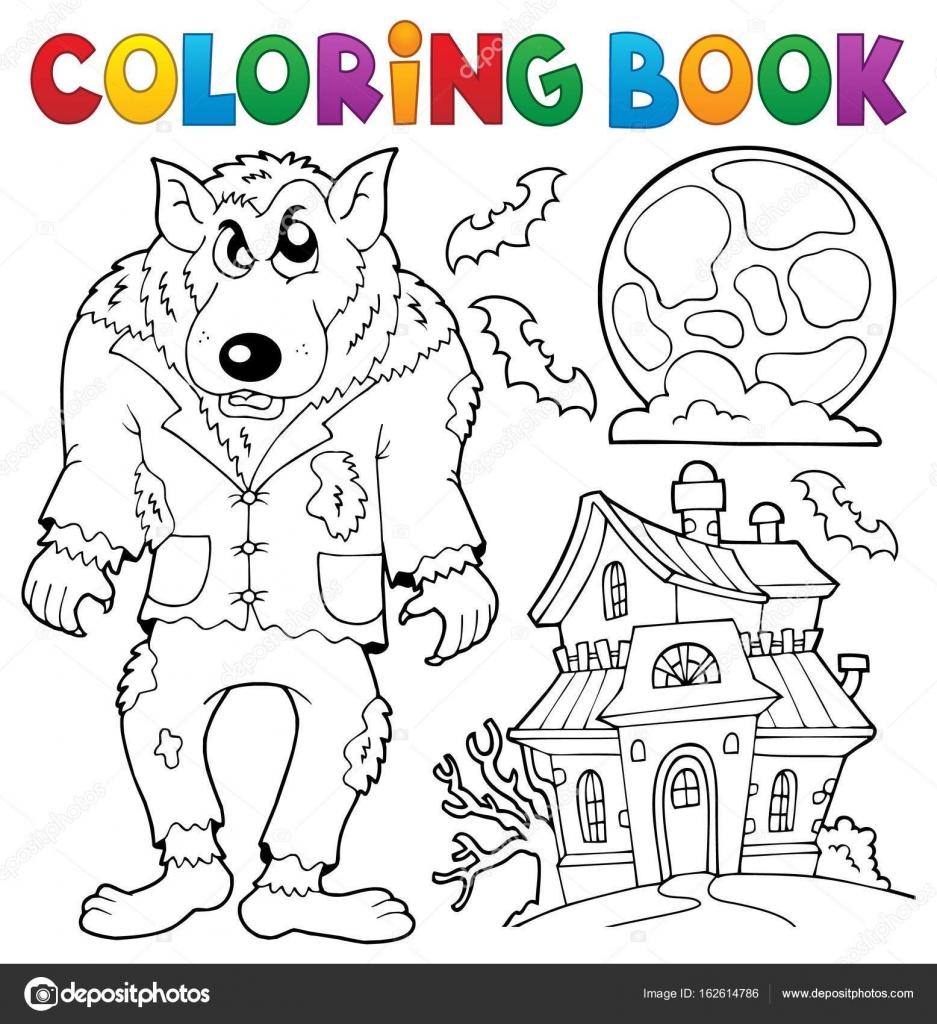 Tema de hombre lobo para colorear libro — Vector de stock © clairev ...