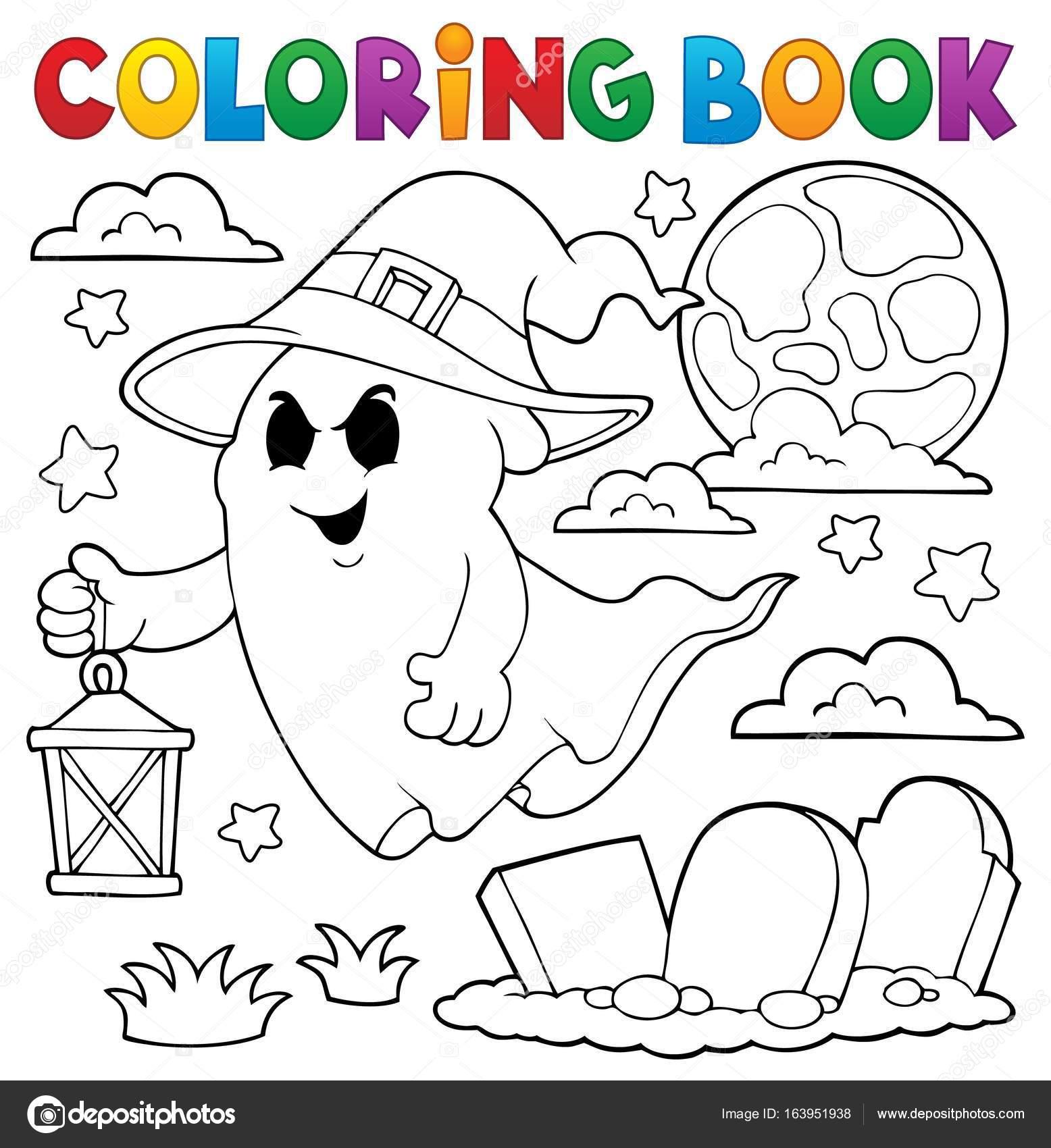 Fantasma de libro para colorear con sombrero y linterna — Vector de ...
