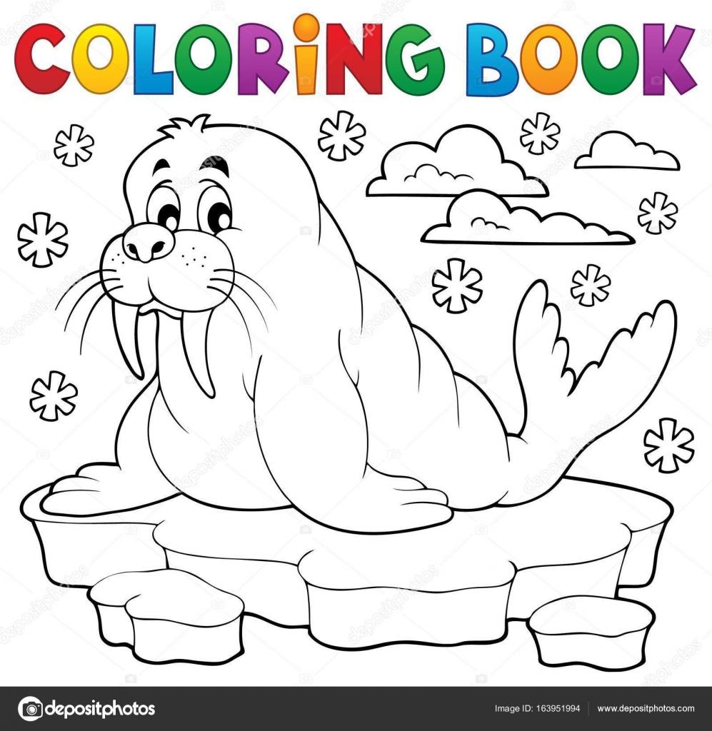Tema de morsa de libro para colorear 1 — Archivo Imágenes ...