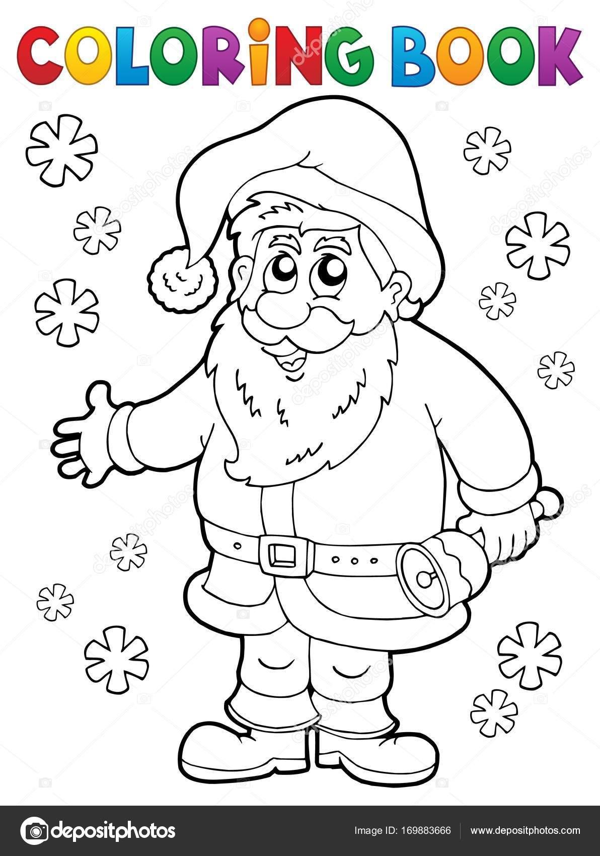 Kitap Noel Baba Thematics 4 Boyama Stok Vektor C Clairev 169883666