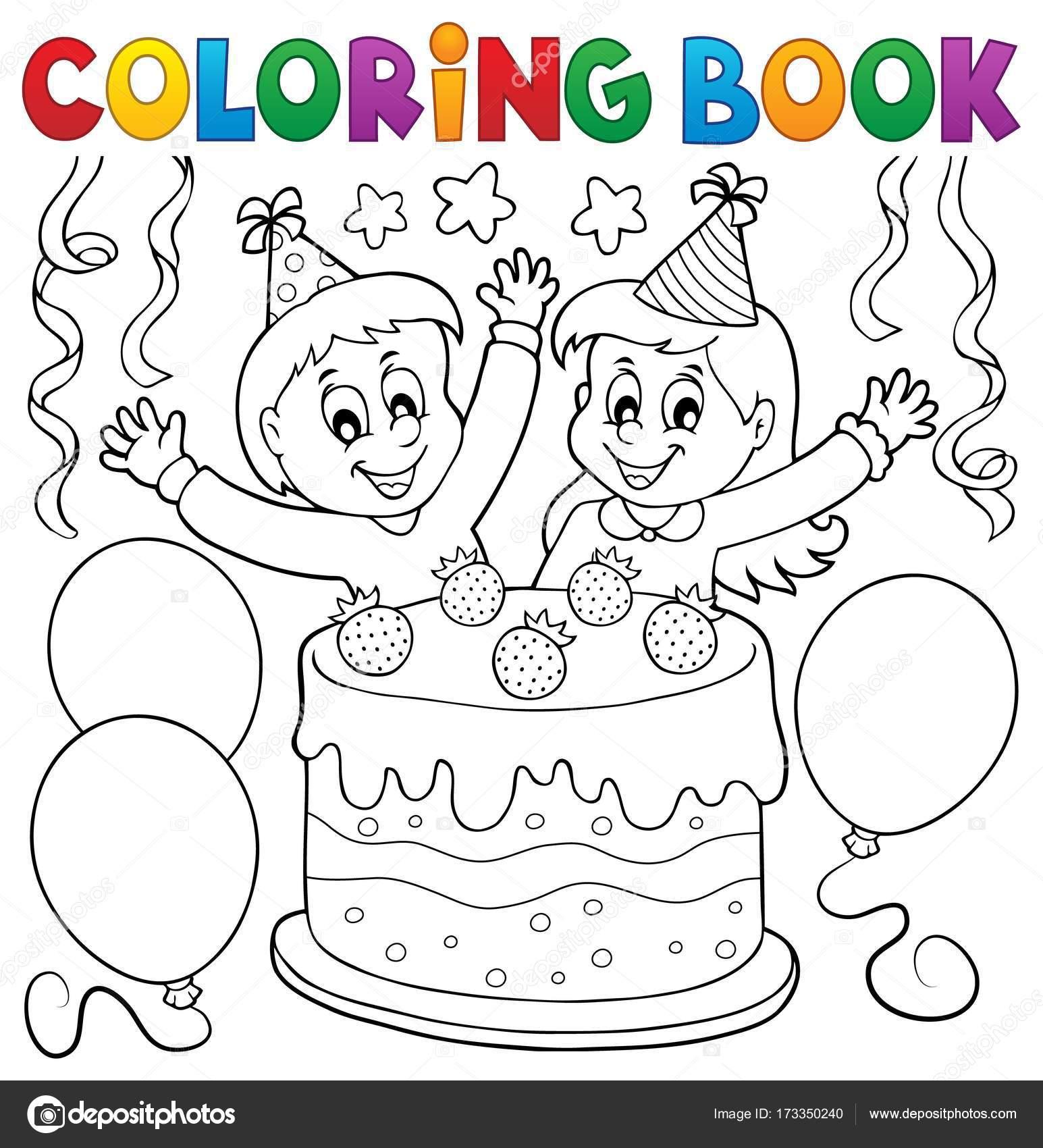 Tarta de libro para colorear y los niños celebrando — Archivo ...