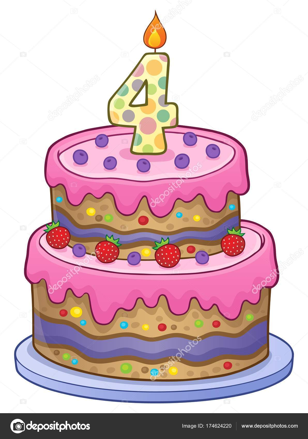 Phenomenal Pictures 4 Year Old Birthday Cake Birthday Cake Image For 4 Personalised Birthday Cards Veneteletsinfo