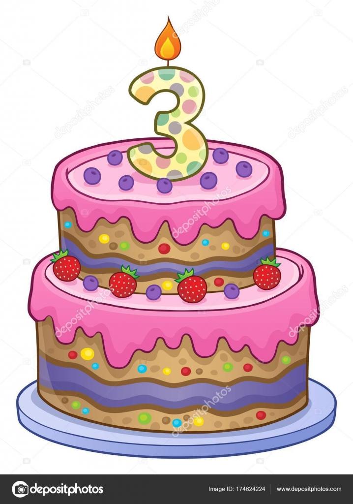 Verjaardag taart afbeelding voor 3 jaar oud — Stockvector