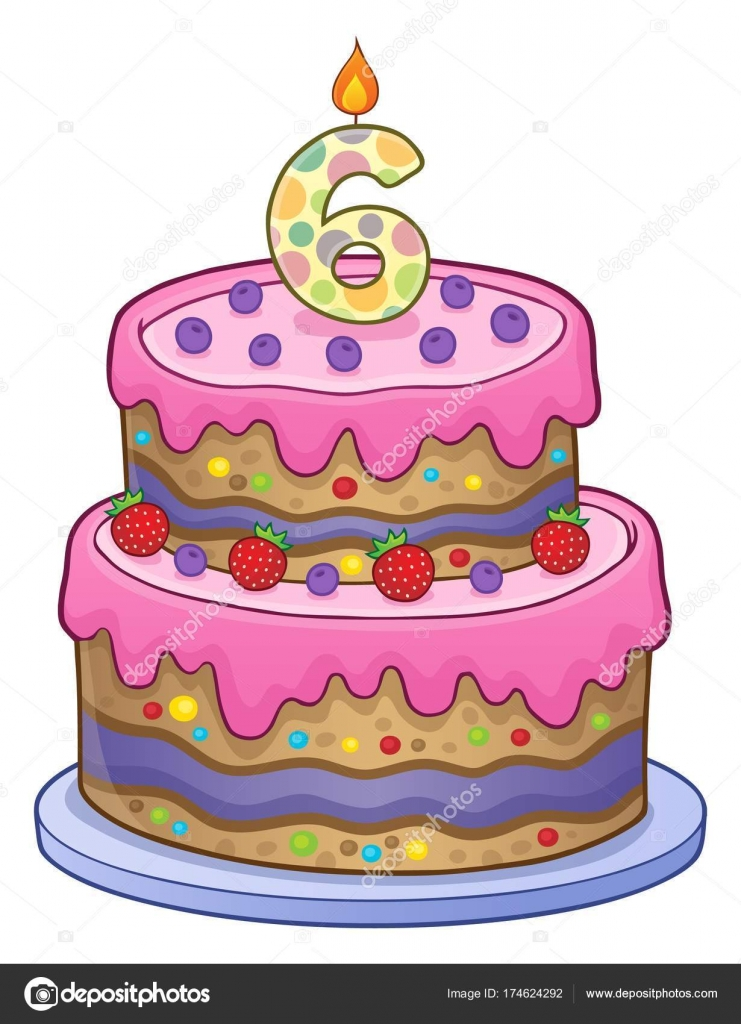 Pleasant Birthday Cake Image For 6 Years Old Stock Vector C Clairev Funny Birthday Cards Online Unhofree Goldxyz
