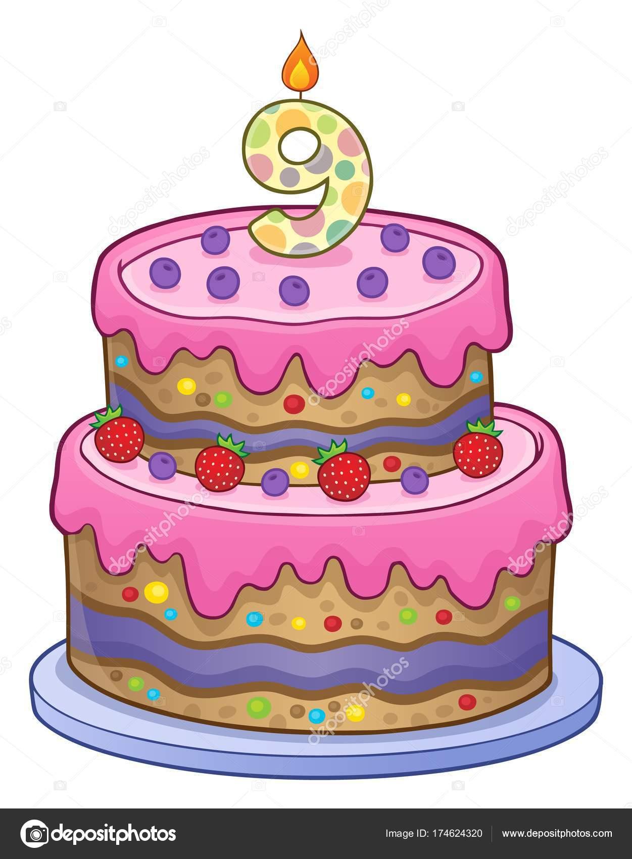 Genoeg Verjaardag taart afbeelding voor 9 jaar oud — Stockvector @BI67