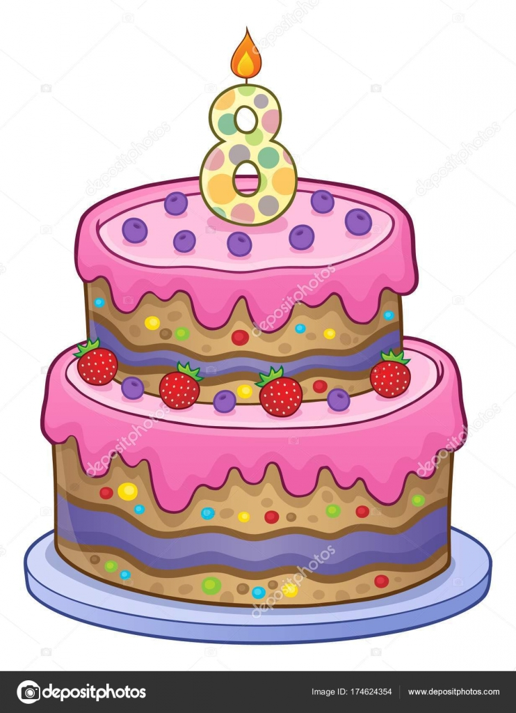 Birthday Cake Image For 8 Years Old Stock Vector Clairev 174624354