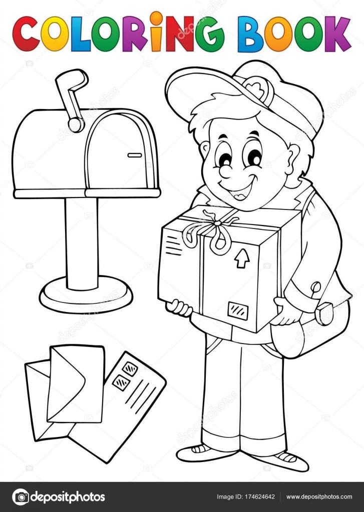 Para colorear CARTERO libro entrega caja — Archivo Imágenes ...