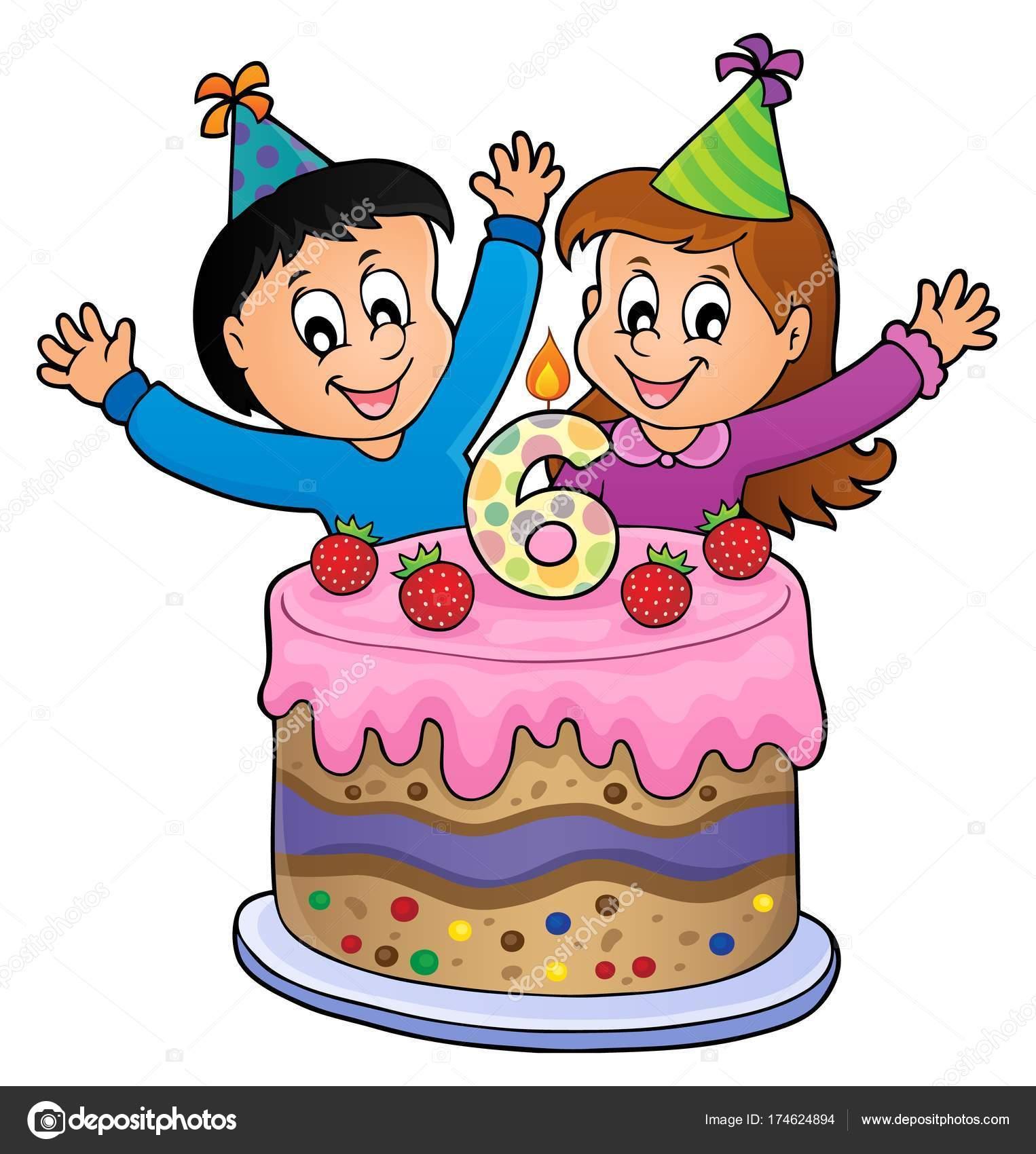 happy birthday bild für 6 jahre alt  vektorgrafik