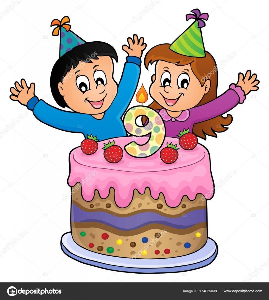 Zeer Gelukkige verjaardag afbeelding voor 9 jaar oud — Stockvector @XM69