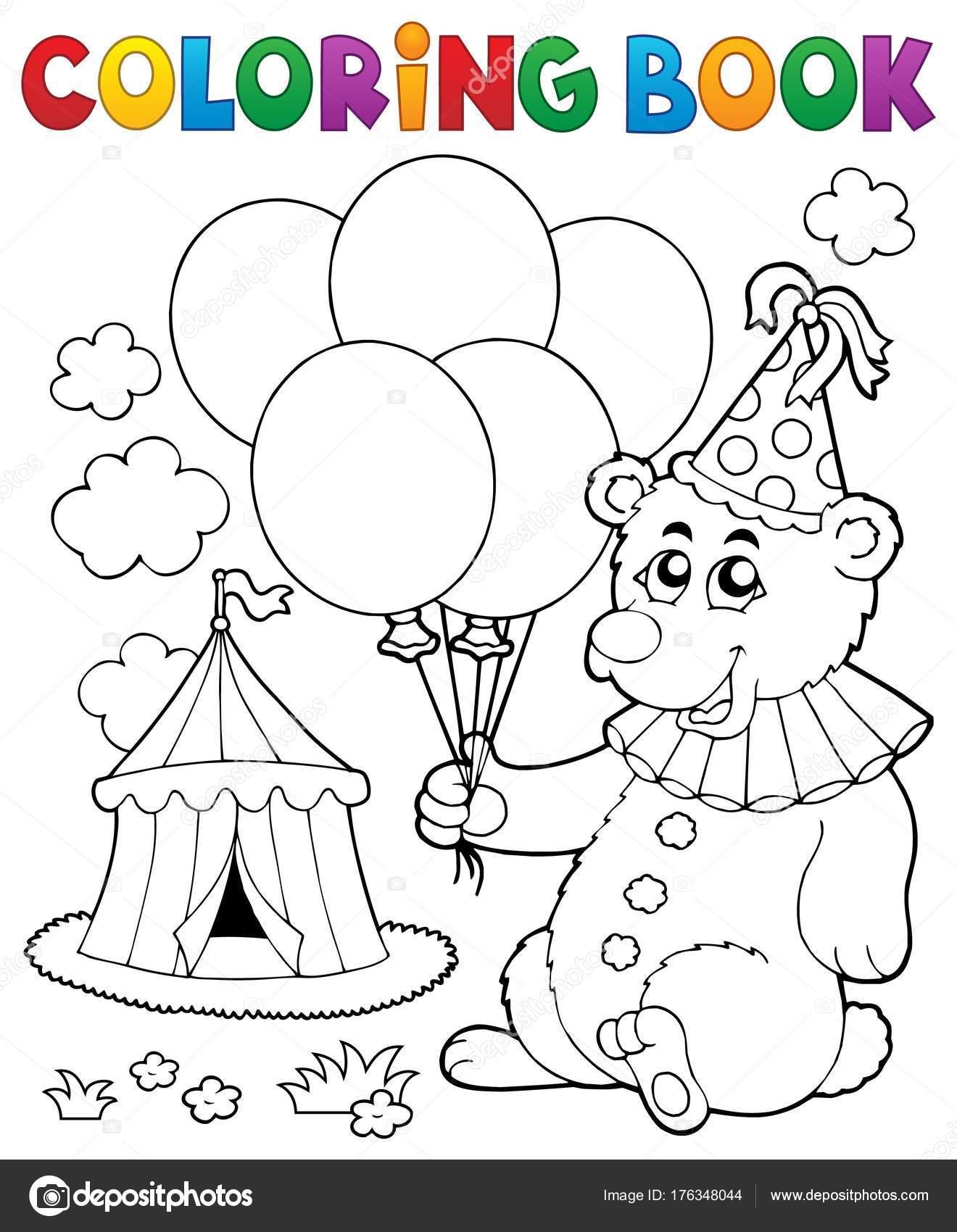 Coloring book bear with balloons — Stock Vector © clairev ...