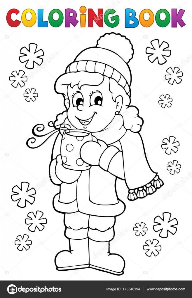 Chica de libro para colorear ropa de invierno — Archivo Imágenes ...