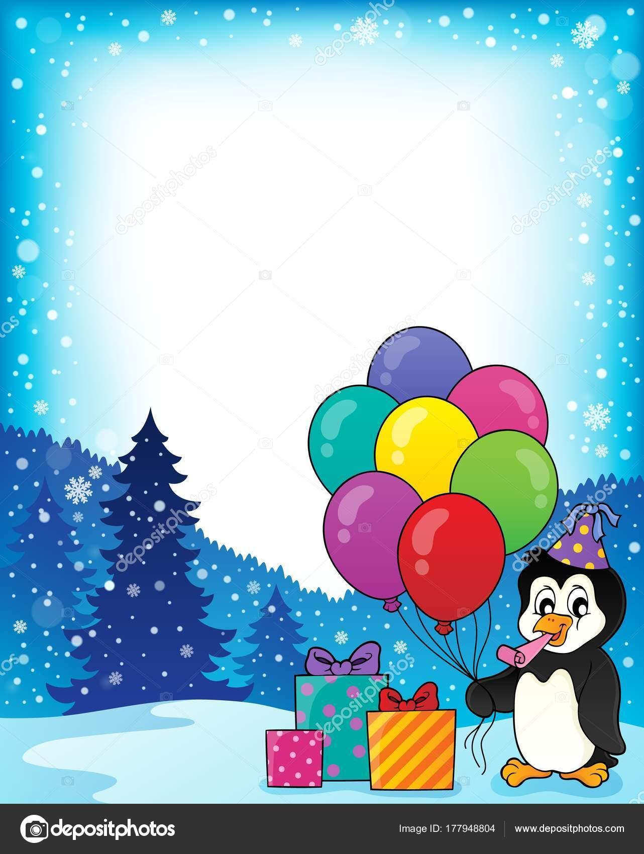Rahmen mit Party Pinguin Thema 1 — Stockvektor © clairev #177948804