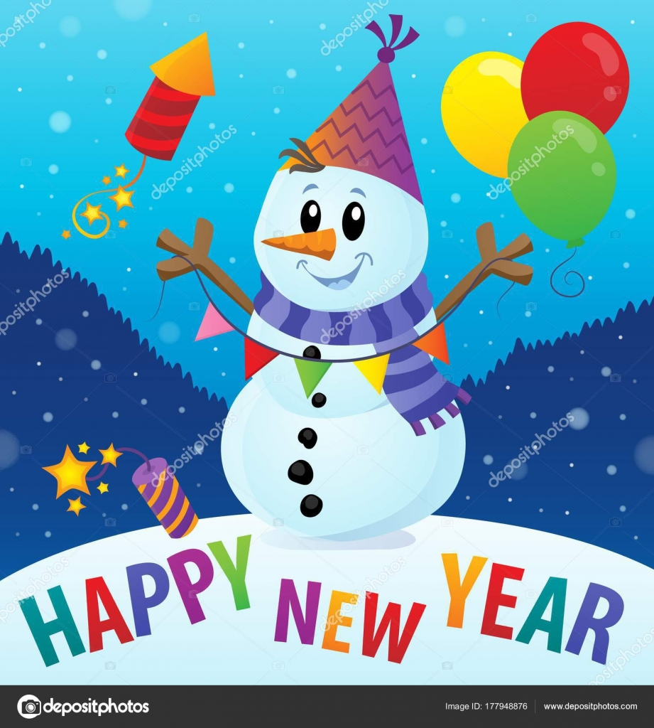 happy new year theme with snowman 2 stock vector