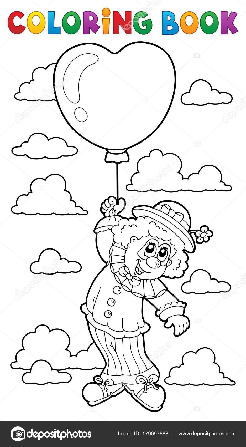Payaso de libro para colorear con globo — Vector de stock © clairev ...