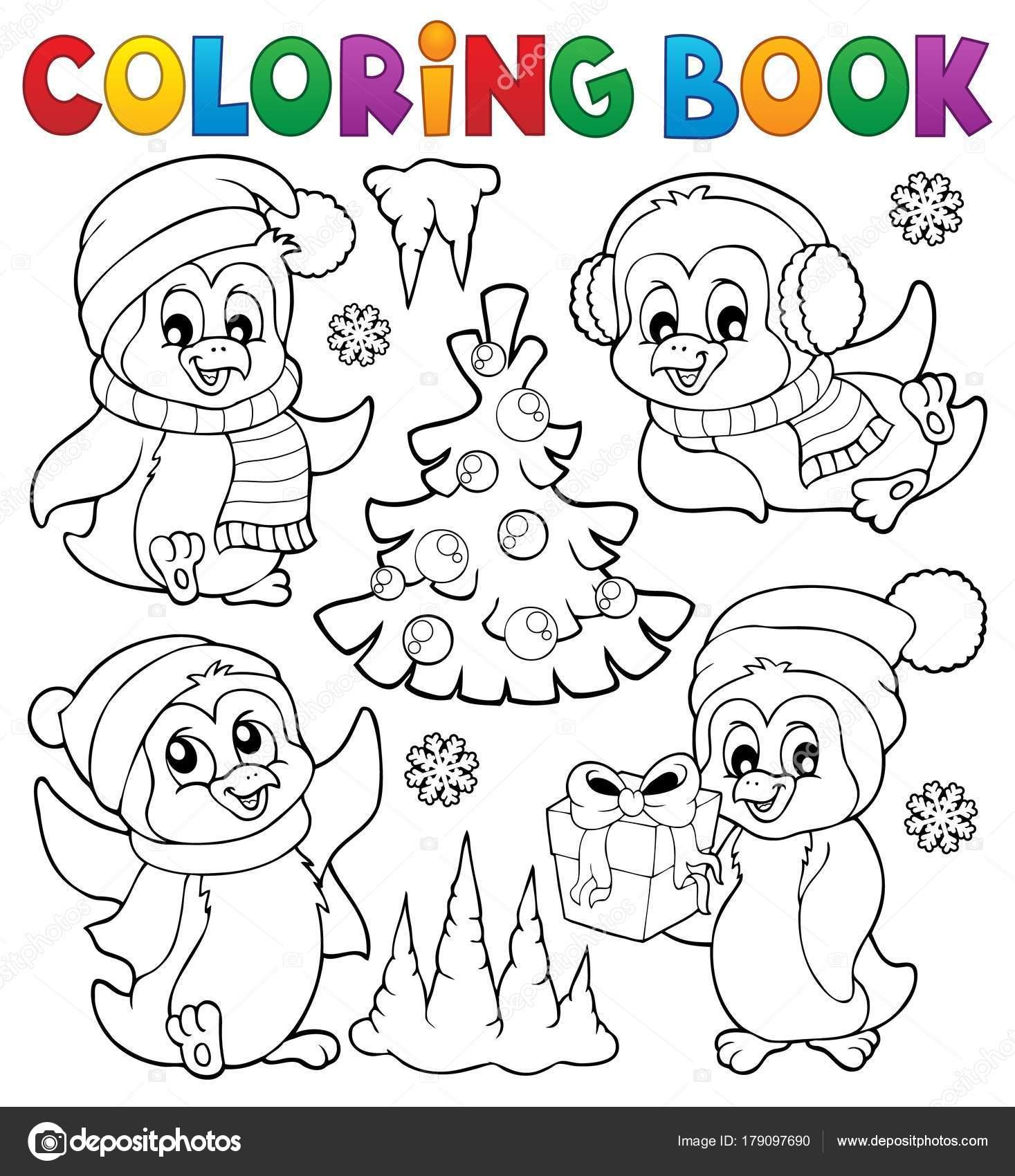 Dibujos Para Colorear Pinguinos Navidenos Pinguinos De Navidad De