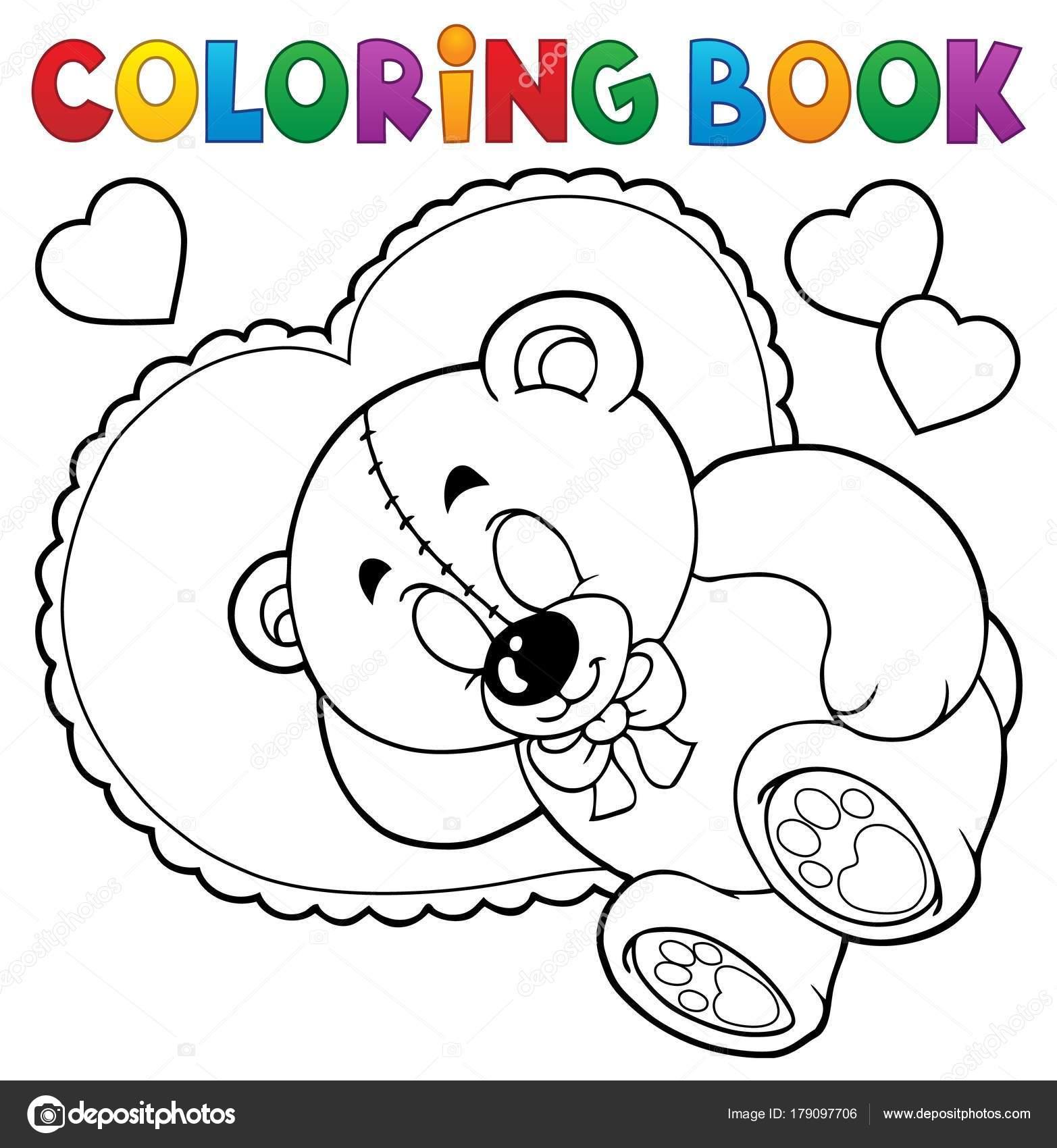 Teddybär Buchthema Färbung 2 — Stockvektor © clairev #179097706