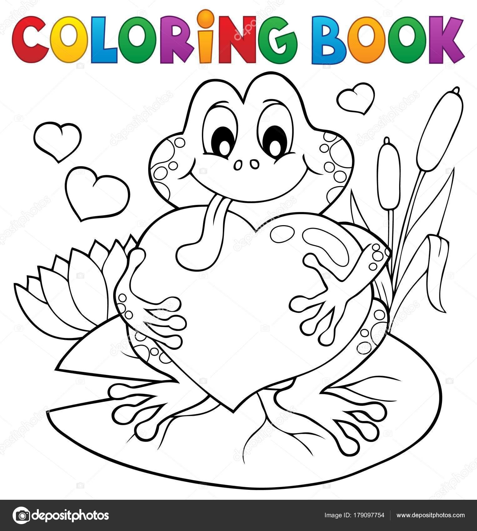 Rana de San Valentín para colorear libro — Vector de stock © clairev ...
