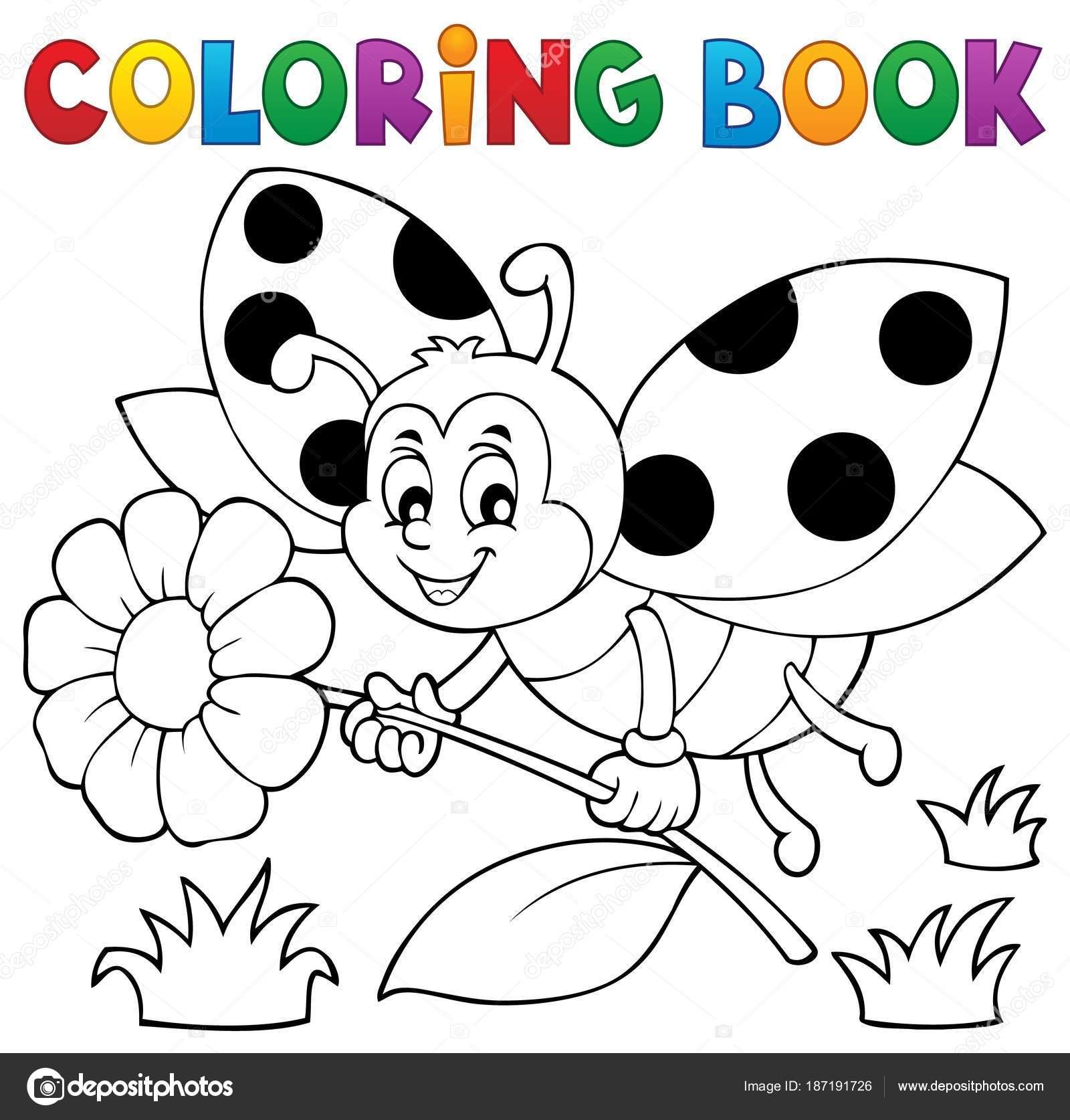 Boyama Kitabı Uğur Böceği Tema 4 Stok Vektör Clairev 187191726