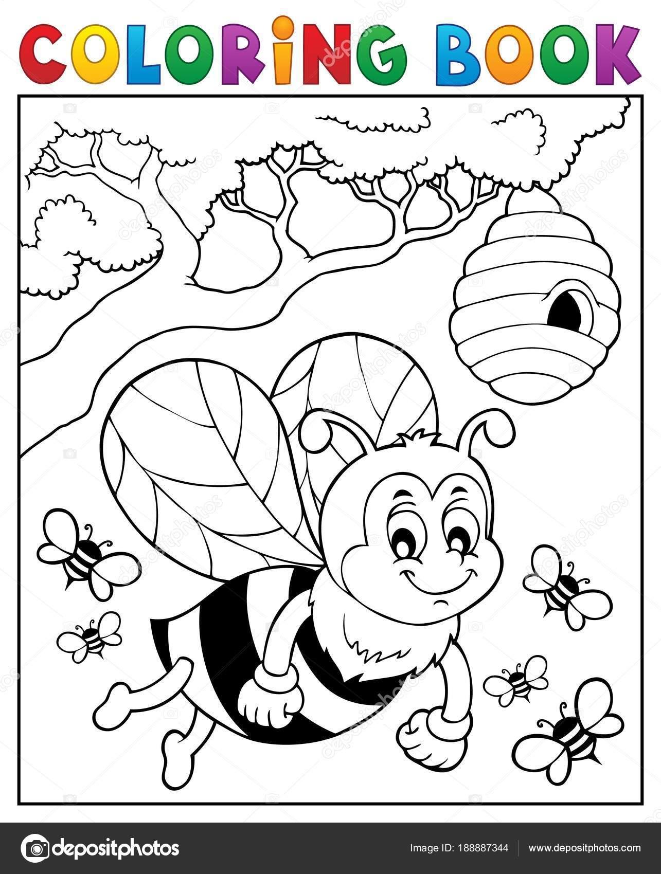 Tema de abeja feliz de libro para colorear 2 — Archivo Imágenes ...