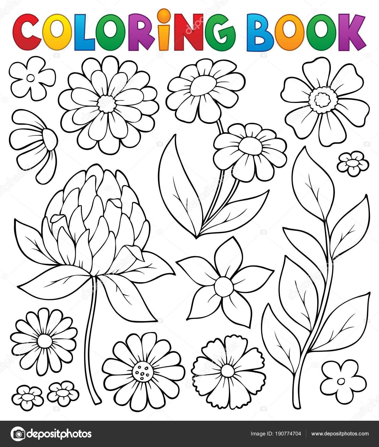 Tema de flor de libro para colorear 8 — Archivo Imágenes Vectoriales ...