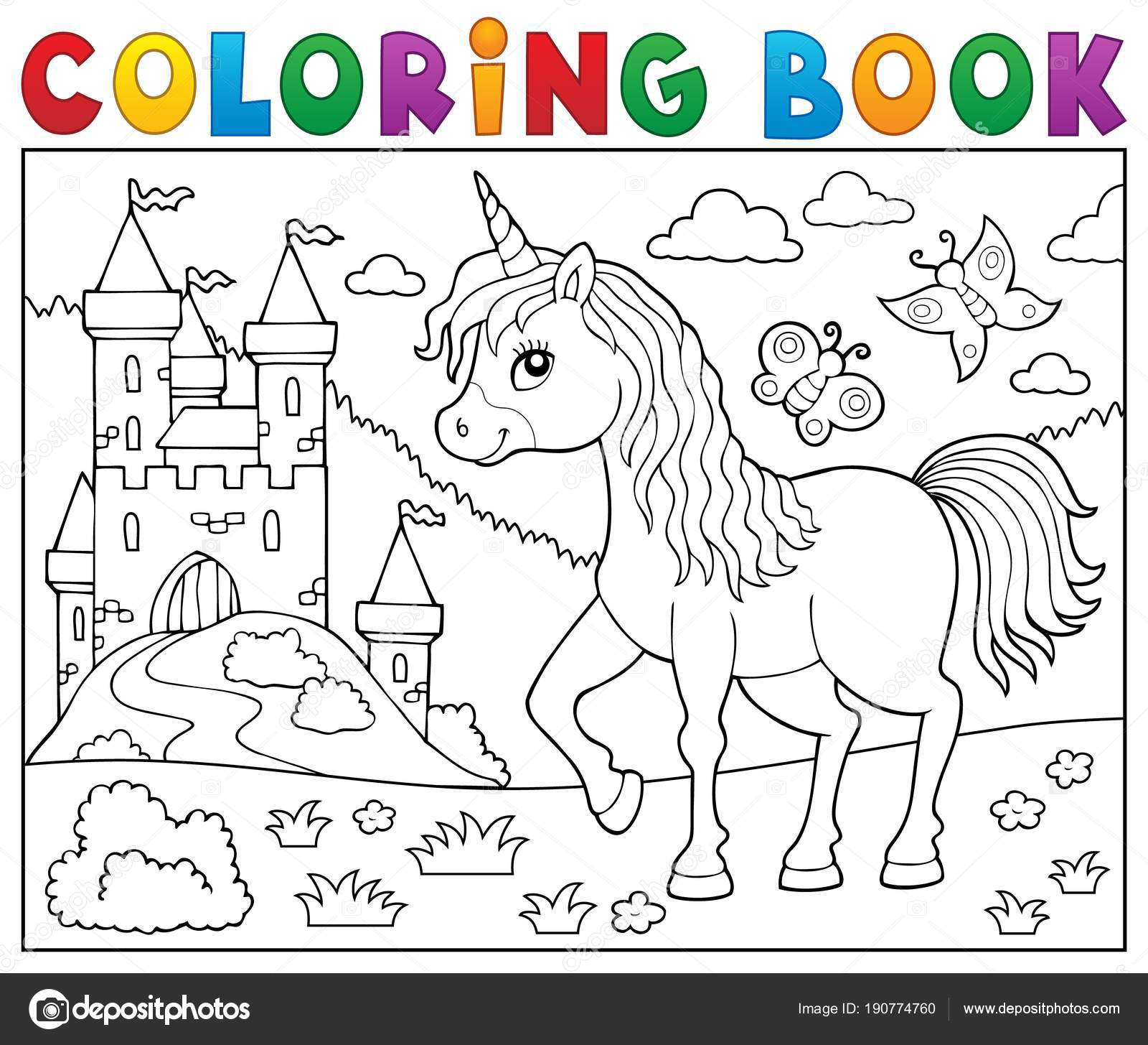 Coloring Book Happy Unicorn Topic 2 Stock Vector C Clairev